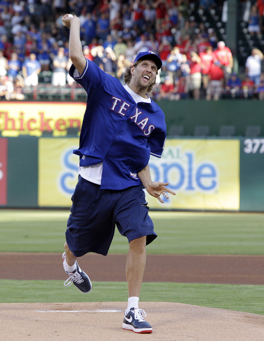 Dirk Nowitzki was at the center of controversy this week when Major League Baseball officials rejected the Rangers' request to allow Nowitzki to throw the first pitch before Game 3 of the World Series. After much criticism, MLB reversed course and announced that Nowitzki would, in fact, be on the mound Saturday night in Arlington. Here are some other memorable first pitches of the 2011 season, including the one Nowitzki threw out for Texas in June, days after the Mavericks won the NBA title.