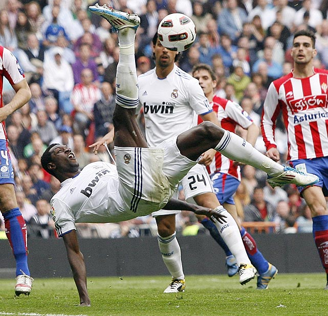 Real Madrid's Emmanuel Adebayor tries for a bicycle kick during a 1-0 loss to Sporting Gijon on April 2.  The loss would end Jose Mourinho's 150-game home unbeaten streak.