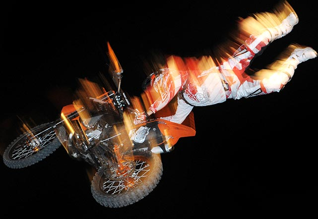 Motorcycle acrobats light up the night sky during a charity rally in Kulmbach, Germany on April 16.