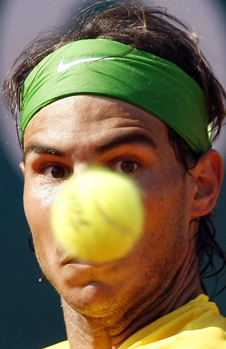 Things (including this tennis ball) aligned perfectly for Rafael Nadal during his seventh consecutive title at the Monte-Carlo Rolex Masters tournament.