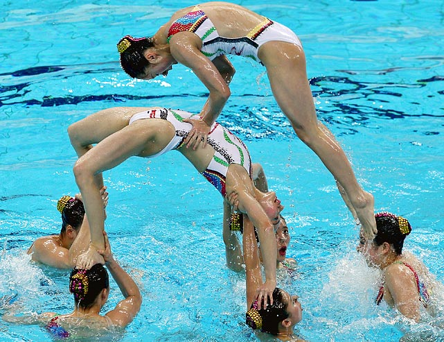 As the only team in the team free combination event at the Synchronized Swimming China Open, Team China scored 96 points to take home the title.  They also took home gold in the following events: technical routine team, free routine team, technical routine solo, free routine duet and the technical routine duet.