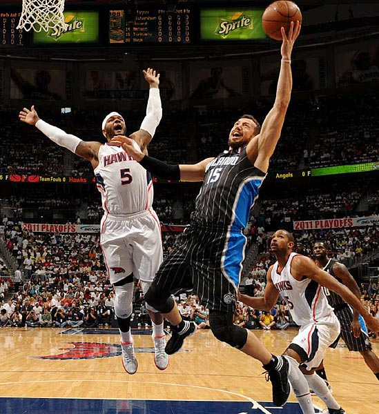 Orland Magic forward Hedo Turkoglu goes up or a layup during the Magic's 88-85 loss to the Atlanta Hawks in Game 4 of the Eastern Conference quarterfinals. Turkoglu shot only 2-of-12 from the field.