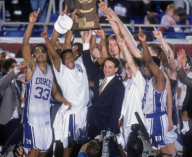 SI's Andy Glockner ranked the championship run of every national champion since the tournament expanded to 64 teams in 1985. The champs were evaluated on overall record (including conference tournaments), quality of opponents faced, margins of victory and perceived expectations for that team entering the postseason. Here are the results.  The Blue Devils comfortably rolled through the ACC tournament, including a thrashing of North Carolina in the final and only had two close calls in the NCAAs. One of those was the Christian Laettner game, the 104-103 win over Kentucky that is widely regarded as the best NCAA Tournament game of all time. They edged Indiana in the semis before crushing the Fab Five by 20 to repeat as national champs.