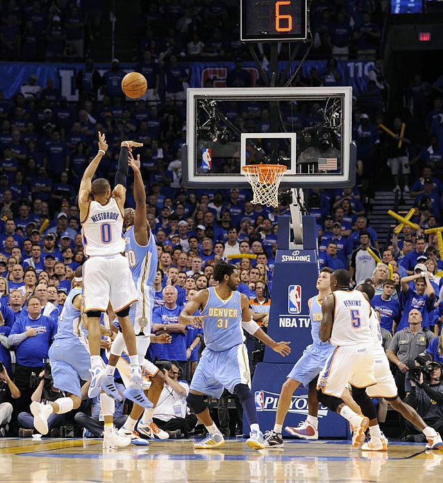With 22 seconds remaining in Game 1, Russell Westbrook hit a 15-foot jumper to put the Thunder up for good. He would finish with 31 points on 12-of-23 shooting.