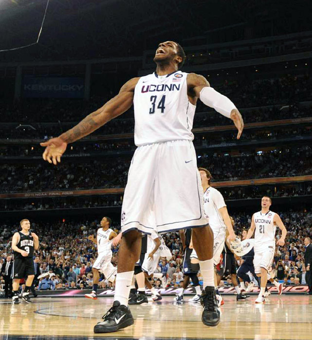 UConn center Alex Oriakhi turns to the crowd as the clock runs out in the NCAA title game.