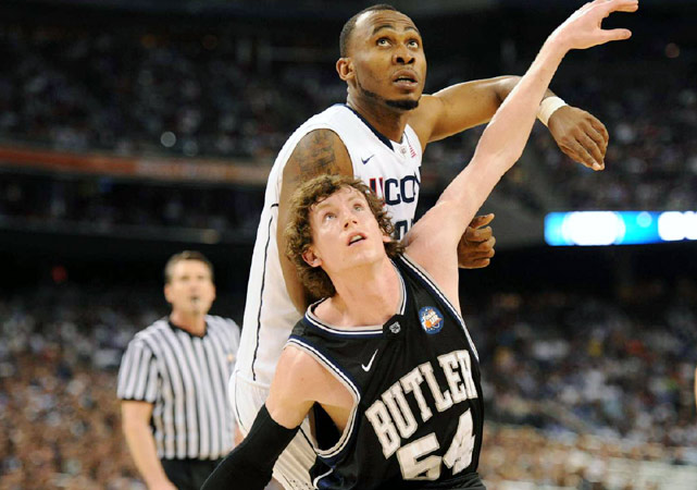 Butler's Matt Howard attempts to box out UConn's Charles Okwandu in the second half.