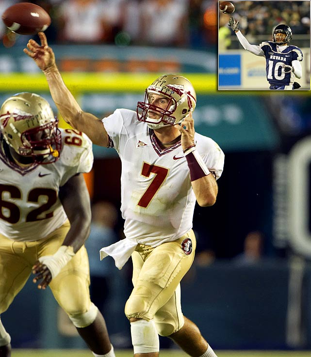 Will Pick:   Christian Ponder , QB, Florida State   Should Pick:   Colin Kaepernick , QB, Nevada   The Titans will have thought about pulling the trigger on Locker earlier, and they're very high on Andy Dalton. If the QBs start to fly off the board, I expect Tennessee (not San Francisco) to look into moving up (I have them trading with New England here) for one of the remaining clean-resume passers. Ryan Mallett? I doubt it. Too much static. This pick allows the Titans to use Kerry Collins in 2011 while grooming a replacement for '12.