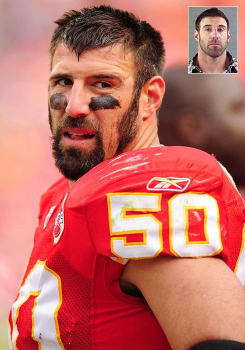 "Two days before Vrabel appeared as a named plaintiff in the antitrust suit against the NFL, he made an unanticipated trip through the criminal justice system. The Kansas City linebacker was arrested for felony theft stemming from an incident at an Indiana casino. A law enforcement official said Vrabel was spotted taking bottles of alcohol away without paying for them, but Vrabel called the incident an ""unfortunate misunderstanding."""