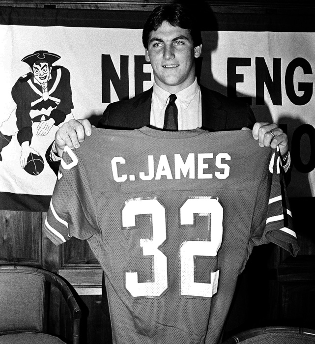 After a year in the USFL, James signed with the Patriots, who had drafted him in the seventh round in 1983. James played five seasons for New England, earning one Pro Bowl selection.