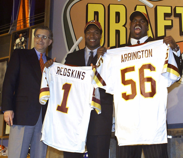The Redskins held the No. 2 and No. 3 picks in the draft and came out with a pair of contributors. Arrington made three Pro Bowls in his seven-year career, and Samuels made six in his 10 seasons with the team.
