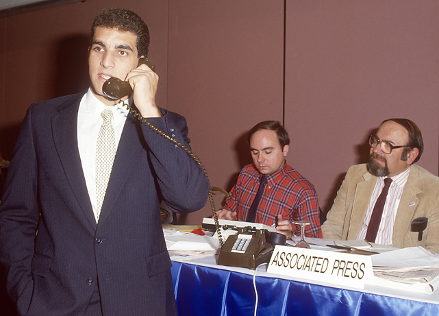 The Heisman Trophy winner talks on the phone after being selected by the Buccaneers with the No. 1 pick in the draft. He struggled with Tampa Bay, throwing 25 more interceptions than touchdowns and compiling a 24-48 record. But he went on to have a productive 21-year career in the league and earned two Pro Bowl selections.