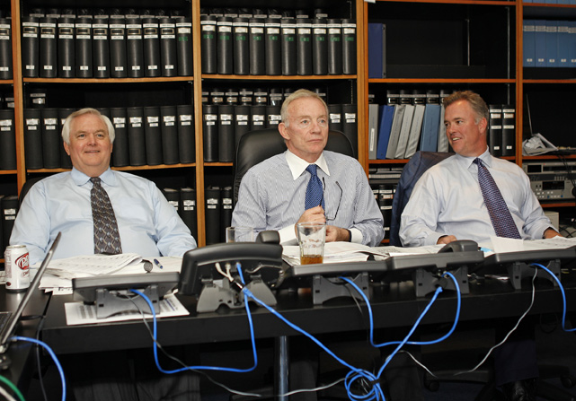 Dallas Cowboys owner and general manager Jerry Jones (middle), head coach Wade Phillips (left) and vice president Stephen Jones (right) take a breather during the 2008 NFL draft. The Cowboys selected cornerback Mike Jenkins with the 25th pick in the first round.