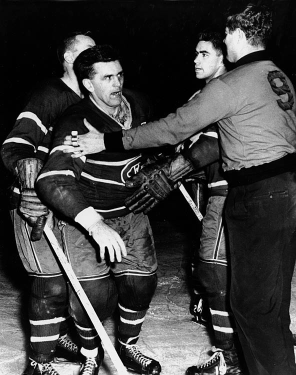 After Boston's Hal Laycoe high-sticked the Habs' icon in the face, bloodying him, the feisty Rocket went after the offending Bruin with fury in his eyes. Linesman Cliff Thompson tried to break up the fight, but Richard punched the official in the face twice, knocking him unconscious, and was suspended for the rest of the season as well as the postseason. When Commissioner Clarence Campbell visited Montreal four days later for a game against the Detroit, he was attacked repeatedly by fans who were upset by the severity of Richard's penalty. The Forum was cleared, but that didn't stop the disorder. A riot ensued outside the building, and dozens were arrested.  Click here for CBC's look back.