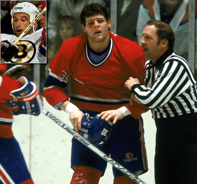 "As Chris Nilan was being escorted off the ice after receiving a game misconduct for fighting near the end of the second period, the Habs enforcer known as ""Knuckles"" skated by the Bruins' bench and delivered a blow to Boston's Ken Linseman, ignitimg a donnybrook. The brawl spilled up the runway leading to the dressing rooms in the Boston Garden. For his part in the festivities, Nilan was given a three-game suspension, as was Montreal's Ryan Walter, who led the Habs' charge into the fray. Claude Lemieux of the Habs also sat out a game. The Habs were fined $9,000, the B's $5,000 and assorted players a not-so-grand total of $4,400. ( Click here to watch the video."