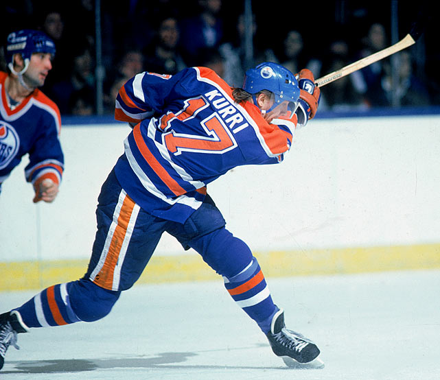 "The original ""Finish Flash,"" Kurri teamed with Wayne Gretzky on the Oilers during his first eight years in the league and won four Stanley Cups, plus a fifth in 1990 after the Great One was traded to the L.A. Kings. Gretzky assisted on 364 of Kurri's 601 career goals, and when Kurri retired, he had scored more goals than any other European-born player (since passed by Jaromir Jagr)."