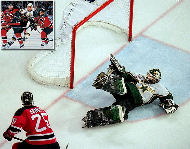 A year after Brett Hull's famous foot-in-the-crease goal gave them the Stanley Cup with a triple-overtime, Game 6 victory, the Stars returned to the final. This time, they were on the losing end of a decisive multiple-overtime game. Jason Arnott goal in double OT of Game 6 gave the Devils a 2-1 win and the chalice.