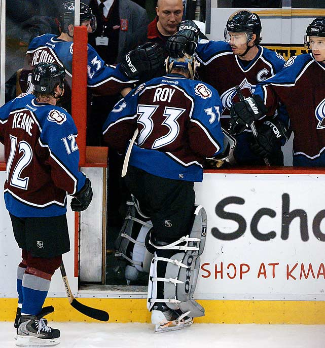 The Avs kept their core together after winning the Cup, but scoring star Peter Forsberg missed the entire regular season with a foot injury. Although Detroit dominated the 2001-02 season on its way to the old silver bowl, Colorado gave the Wings all they could handle. The Avs pushed them to a decisive Game 7 in the Western Conference Final, but the Wings blitzed them 7-0 to end all hope of a repeat.