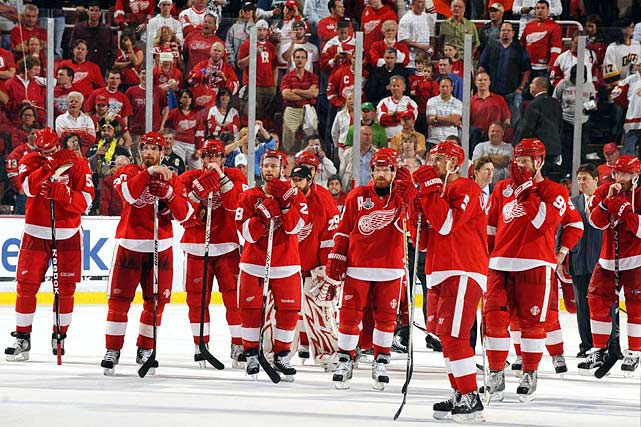 In 2008, Detroit celebrated its 11th Stanley Cup on Pittsburgh's home ice. A year later, the Wings won 51 games and earned the second seed in the West. A first-round sweep of Columbus, a seven-game nail-biter against eighth-seed Anaheim, and a five-game victory over Central rival Chicago set the rematch of the 2008 Cup final. Only this time, Detroit fans had to watch the celebration as the Pens returned the favor in Game 7.