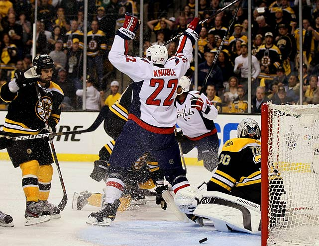 After their epic march in 2011 to their first Stanley Cup since 1972, the Bruins' reign ended in an impossibly tight, hard-fought first-round series against Washington. All seven games were decided by one goal, the end coming for Boston in overtime at home when the Caps' Joel Ward scored off the rebound of a shot by Mike Knuble.