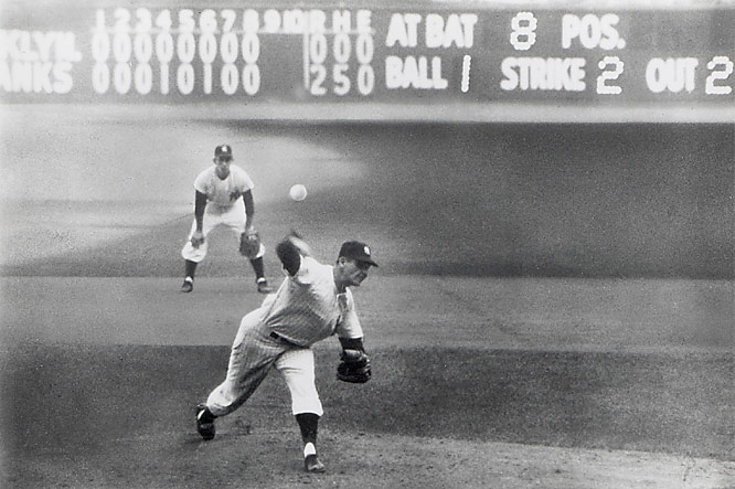 Don Larsen was knocked out of his Game 2 start by Brooklyn after less than two innings, but he was back on the mound for Game 5. Larsen retired all 27 Dodgers batters for the first -- and still only -- perfect game in World Series history as the Yankees won 2-0. New York went on to win the 1956 Series in seven games.