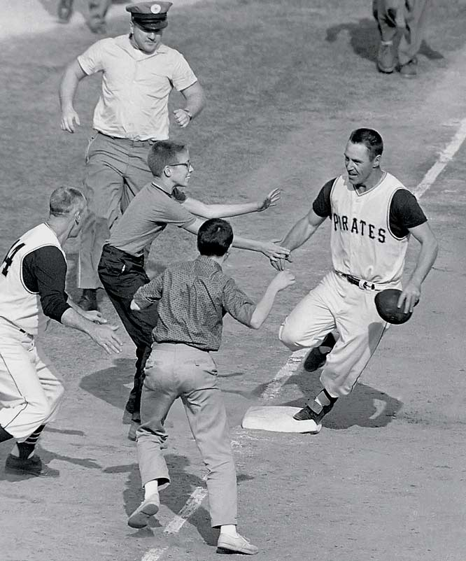 A wild Game 7 was capped by the first World Series-winning home run in major league history. Pittsburgh's Bill Mazeroski hit a solo homer off the Yankees' Ralph Terry to lead off the bottom of the ninth, and although the Yankees outscored the Pirates 55-27 in the 1960 Series, they lost the decisive game 10-9.