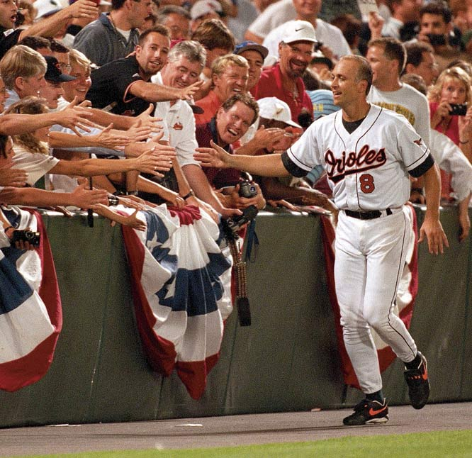 For more than 13 straight years, Cal Ripken Jr. proved his love of baseball each day. On Sept. 6, 1995, Ripken broke one of the most hallowed records in sports -- Lou Gehrig's consecutive game streak. The record-breaker was a 4-2 win over the Angels in which Ripken received a 22-minute standing ovation.