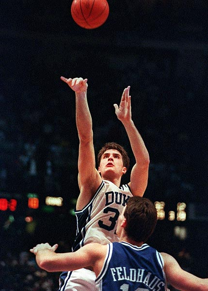 Duke star Christian Laettner had only 2.1 seconds, but he never looked rushed. Not when breaking to the free-throw line to catch Grant Hill's heave from the far baseline. Not as he dribbled once. Not as he faked right to clear some space. And not as he spun left and released his game-winner in the 1992 Elite Eight in one of the most stunning endings in NCAA tournament history.