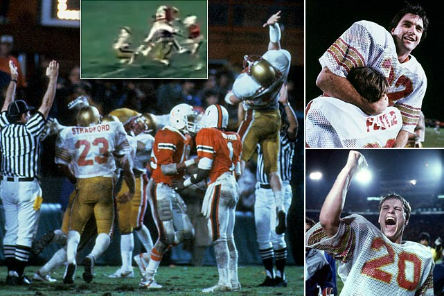 Late in a back-and-forth 1984 battle with Miami, Boston College trailed 45-41. Near midfield with six seconds left, Eagles' quarterback Doug Flutie took the game's final snap, scrambled to the right with his eyes on the end zone and launched the ball 63 yards down the field. The football flew through the arms of two defenders and into the waiting hands of Gerard Phelan to win the game. The iconic moment also helped seal Flutie's Heisman Trophy win.