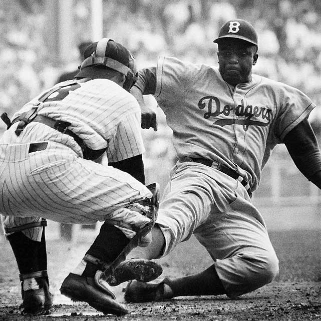 Film later showed Jackie Robinson should have been called out, but he was ruled safe on the field when he broke from third base in the eighth inning of the 1955 World Series opener. The steal was one of the most memorable moments in the Hall of Famer's career. Even though the Dodgers got a break on the play, they lost the game 6-5 to the Yankees. Still, Brooklyn took the series in seven games.