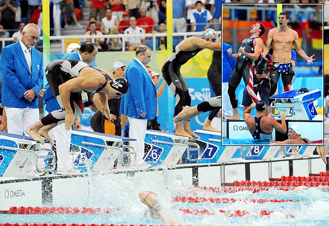 The 32-year-old Jason Lezak was half a body length behind trash-talking world-record holder Alain Bernard of France with 50 meters to go in the last leg of the 400-meter freestyle relay at the 2008 Olympics. Michael Phelps' quest for eight gold medals should have ended there. But Lezak completed his superhuman effort by closing the gap with a world-record split and out-touching Bernard in perhaps the greatest comeback in swimming history.