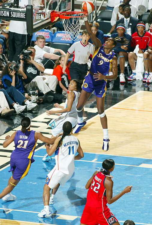 Considered a pioneer of the WNBA, Lisa Leslie became the first woman to dunk in a professional basketball game when she threw down an open-court jam for the Los Angeles Sparks in 2003. The 6-5 USC product won three WNBA MVP awards and four Olympic gold medals, but she might be best remembered for being the first female player to throw one down on a fast break.