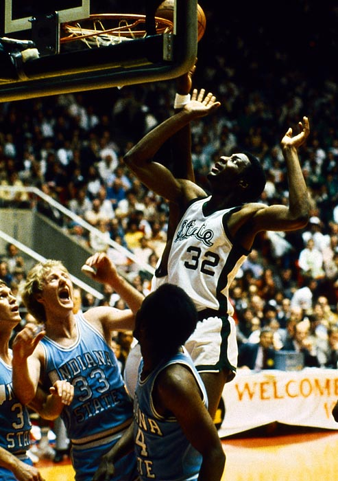 Before they battled in one of the NBA's most storied rivalries, Magic Johnson and Larry Bird met for the 1979 national title. Bird had led Indiana State to an undefeated regular season, but Johnson and the Spartans topped the Sycamores in the title game. Michigan State's matchup zone defense forced Bird into a bad shooting night, ending Indiana State's hopes.
