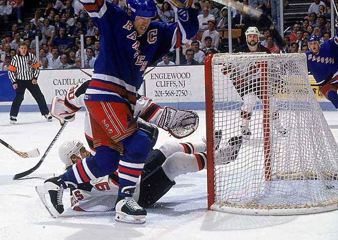 If anyone could vanquish the Curse, it was the captain. After winning five Stanley Cups with Edmonton, Mark Messier arrived in New York charged with ending the title-drought. In Game 7 of the 1994 finals, he scored the decisive goal as the Rangers beat the Canucks 3-2.