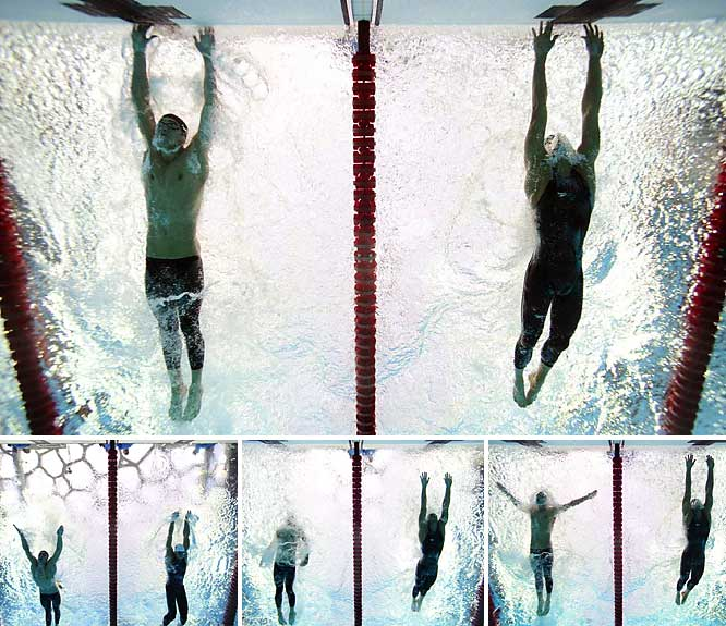 The dream of beating Mark Spitz's record of seven gold medals in one Olympics came down to a fingertip in 2008. Michael Phelps made what many thought was a tactical error when he took one last half-stroke as he came to the finish, but it enabled him to pass Milorad Cavic and hit the wall one-hundredth of a second ahead of the Serbian, who was desperately stretching for the touchpad.