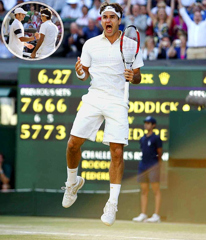 The tennis great needed a marathon final set to top Andy Roddick, but he was dressed the part as he accepted his record 15th Grand Slam title in 2009. Roger Federer moved ahead of Pete Sampras after serving 50 aces in a 5-7, 7-6 (6), 7-6 (5), 3-6, 16-14 win over Roddick. Immediately after the match, Federer put on a white track jacket with a golden 15 on it -- showing that the usually reserved player was ready for his moment in the spotlight.