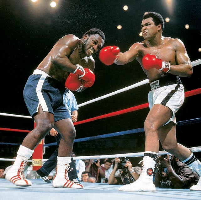"Muhammad Ali and Joe Frazier split a pair of earlier bouts, but neither of those fights matched the intensity or brutality of fight No. 3, the Thrilla in Manila, in 1975. After 10 even rounds, Frazier unleashed an aggressive attack on Ali, hitting him with ""punches that'd bring down the walls of a city,"" he'd say later. But Ali found one last surge, and pummeled Frazier so badly that the veteran threw in the towel after the 14th round."
