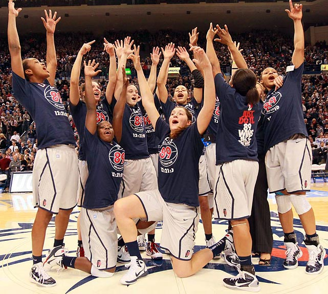 With a 93-62 rout of Florida State on Dec. 21, 2010, the Huskies surpassed the UCLA men's basketball team's record of 88 straight wins. The blowout was typical of UConn's streak: The Huskies won by an average of 33.3 points per game and only four victories were by fewer than 10 points. The streak stretched to 90 games before a loss to Stanford on Dec. 30.   (Send comments to siwriters@simail.com)