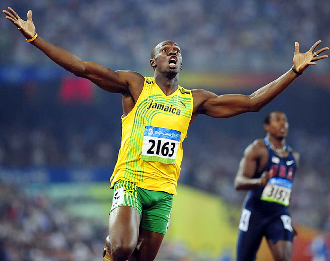 Showboating Jamaican sprinter Usain Bolt blazed onto the scene during the Beijing Games in 2008, setting world records in the 100 meters (9.69 seconds), 200 meters (19.30 seconds) and the 4x100 meter relay (37.10 seconds). Bolt became the first man to win gold in all three events since Carl Lewis accomplished the feat in 1984. In the 100, Bolt started his celebration 20 meters early, leaving experts to speculate how fast he could have finished if he had run hard through the finish line.