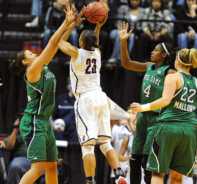 Playing in her last college game, Maya Moore tallied a game-high 36 points, including five 3-pointers made. Unfortunately for the Huskies, Moore was only one of two double-digit scorers against Notre Dame.