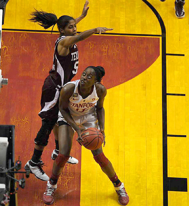 The Texas A&M defense kept one-half of the Ogwumike sisters in check, allowing Chiney (pictured here) to score four points. On the next slide ...