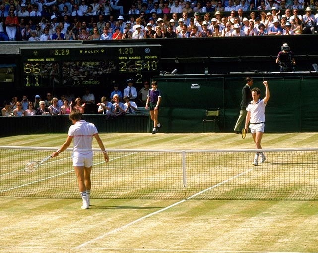 Connors took a five-set final from McEnroe at Wimbledon in 1982, but McEnroe exacted revenge in powerful fashion. He needed only 80 minutes to rout Connors for his third title in four years. McEnroe had 10 aces, no double faults and only four unforced errors -- a record low in Grand Slam play.