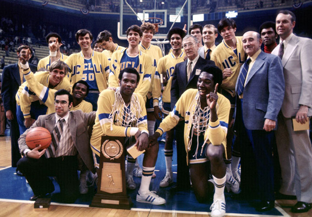 The Bruins finished their second consecutive undefeated season in dominating fashion. The result shouldn't have been a surprise: Memphis State hadn't won an NCAA tournament game before 1973, while UCLA had won six-straight national titles. Bill Walton played a nearly flawless game, scoring 44 points on 21-for-22 shooting.
