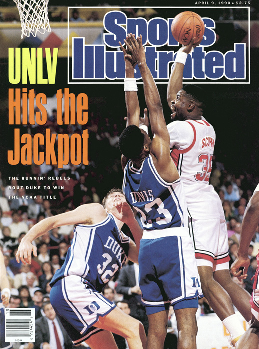 The game was billed as a matchup of polar opposites -- East vs. West, Gritty vs. Glitzy -- and the teams' performances couldn't have been farther apart. With punishing defense, the Runnin' Rebels simply outclassed the Blue Devils. In the biggest blowout in championship game history, UNLV's Larry Johnson led the Rebels with 22 points and 11 rebounds.