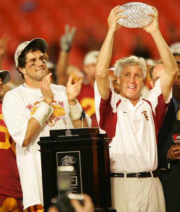 Oklahoma jumped out to 7-0 lead, but nothing went right from there. Matt Leinart, Reggie Bush and a slew of other future first-round picks led to USC to a 38-10 halftime lead and a national championship. How good were the Trojans? Eleven players would be selected on the first day of the next two drafts.