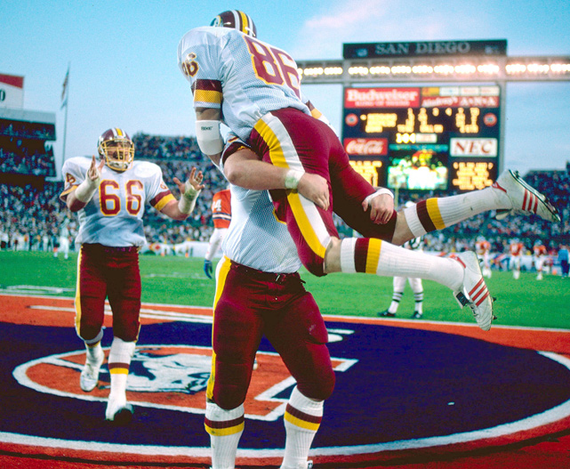 Denver held a 10-0 lead early but had no answer once Washington got rolling. The Redskins scored 35 points on five possessions in less than six minutes of game time during the second quarter. Quarterback Doug Williams tossed four of those scores, including 80- and 50-yard bombs to Ricky Sanders.