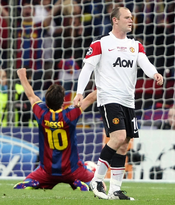 The result left a bitter taste for Wayne Rooney (right) and Manchester United, which fell to Barcelona 2-1 in the 2009 Champions League final.
