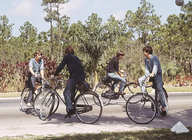During the filming of  Help  in the Bahamas, the Beatles -- from left, Ringo, John, George and Paul -- rode bicycles.
