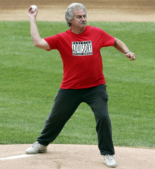 The original drummer in the Beatles, replaced by Ringo Starr in 1962, Pete Best throws out the ceremonial first pitch before a White Sox-Yankees game at U.S. Cellular Field in Chicago.