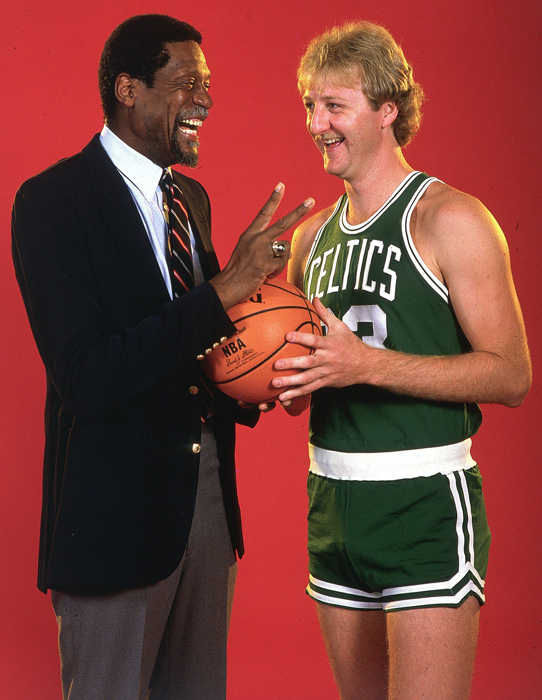 Two of the all-time best NBA players talk with each other. The pair is a big reason Boston has more NBA championships than any other franchise.