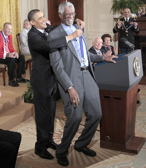 "President Barack Obama presents the Presidential Medal of Freedom to Russell in 2011. Obama said the 15 recipients of the award ""reveal the best of who we are and who we aspire to be."""